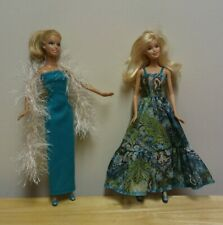 "11 1/2"" Doll Clothing Aqua Evening Gown, Aqua/Green Print Gown, Fun Fur Scarf"