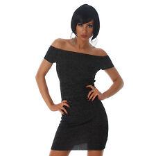 Sexy kurzarm Kleid Carmen Minikleid schulterfrei  Schwarz meliert 34 36 38