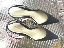 Ann Taylor Black Satin Like Fabric Upper Sling-Back Dress Heels Size 9 1/2 M