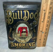 ANTIQUE TALL TIN LITHO BULL DOG SMOKING TOBACCO VERTICAL POCKET CAN OLD PIPE
