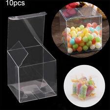 10Pcs Square Transparent Plastic Candy Boxes Cookie Pouch Party Wedding Favors