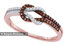 red diamond 18 carats 10K rose gold love slip knot weave ring strength together