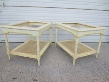 Pair Faux Bamboo End Table Side Hollywood Regency Chinese Palm Beach 2 CANE