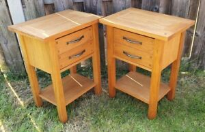 Two Laura Ashley Milton Oak Side Tables Living Room Hall Cabinet SL2 (May POST)