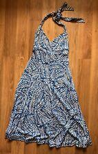 Diane von Furstenberg Halter Blue Leaf Print Silk Dress Size 2