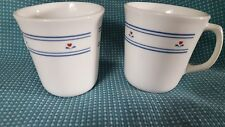 Corning D Handle Coffee Mugs Cups White Country Hearts Blue Stripes Red Hearts 2