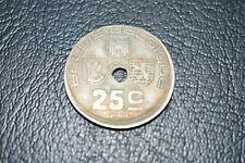 Belgique 25 centimes fautée, 1938 frappe decalée et trou decalé
