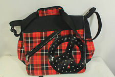 Justice Plaid Peace Sign Red Black Silver Book Laptop Bag Large Retro Tartan