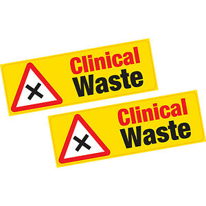 2 x Clinical Waste Vinyl Stickers Hazard Health and Safety Shop Business