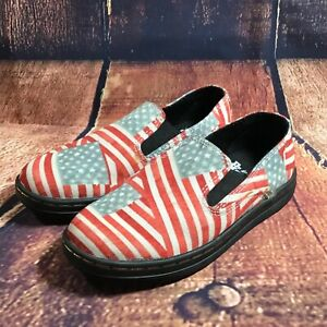 Dr Martens AirWair Toddler Size 11 Timon Patriotic American Flag Slip On Loafers