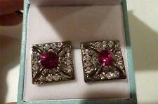 Lovely Earrings set with Simulated Diamond & deep Pink stones- Pierced - New