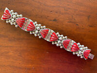 Vintage DEL RIO MEXICO 925 Sterling Silver Red Stone (Coral?) Hinged Bracelet