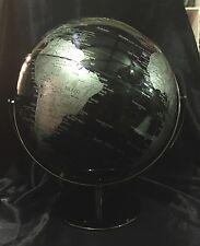 Black World Ocean Globe 30cm Double Axle