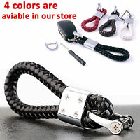 Car Keychain Braided Leather Strap Key Chain Ring Brown Medium Length