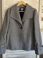 Jones New York Black/White Long Sleeve Jacket Pea Coat Womens Size M Wool