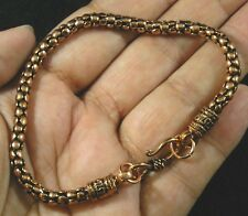 """Antiqued Solid Copper Knobby Bumpy Nugget Chain Bracelet 8 1/2"""" Mens M Womens Lg"""