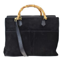 Authentic GUCCI 2Way Bamboo Shoulder Hand Bag Suede Leather Black Italy 60MB591