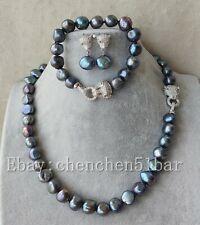 11-12mm schwarz Süßwasserperlen Tiger Kopf Halskette Armband 18/8 Zoll & Ohrring