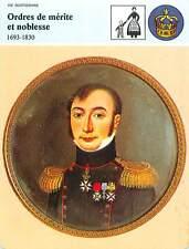 FICHE CARD Ordres de Mérite et de Noblesse 1693-1830 Légion d'Honneur France 90s