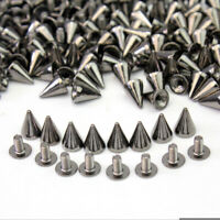 100x 10mm Gun Black Metal Bullet Studs Cone Punk Spikes Spots Rivet Leathercraft