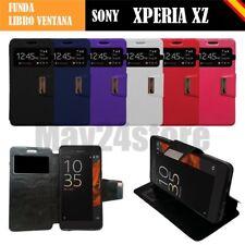 Funda soporte libro ventana Sony Xperia XZ protector cristal memoria opcional