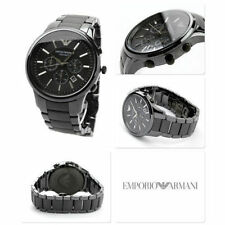 NEW GENUINE EMPORIO ARMANI AR1451 ALL BLACK CERAMIC MATTE MEN'S WATCH UK