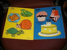Vtg Wooden Playskool Water Pals Frog Fish Turtle Snail/ and My Birthday Party