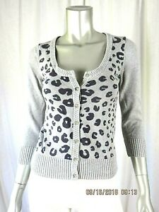 AMERICAN EAGLE OUTFITTERS SZ Juniors M Cotton/Wool Gray Short Cardigan Sweater