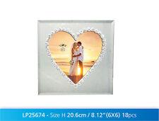 "Beautiful Heart Shaped 6"" x 6"" Photo Frame with glitter roses - Wedding etc."