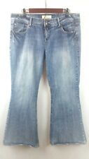 Maurices Women's Ani Flare Jeans Medium Distressed Wash Double Button Size 7/8