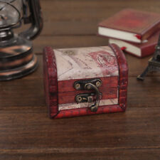 Stylish Vintage Small Metal Lock Jewelry Treasure Chest Case Handmade Wooden Box