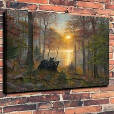 Art Canvas Print, Oil Painting Rise and Shine Woods Bear tree  Home Decor 12x16
