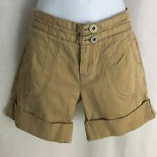 DKNY JEANS SHORTS KHAKI DOUBLE BUTTON ZIP FLY CUFFED WOMENS SIZE 8