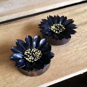 PAIR Black Leather Flower Plugs Tunnels Gauges Earlets Body Jewelry