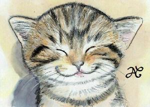 ORIGINAL ART Drawing Too Cute Kitten Portrait Smiling Cat Smile Animal