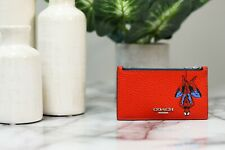 Coach X Marvel 1857 Spiderman Leather Top Zip Credit Card Case ID Holder Wallet