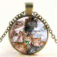 Vintage Cats Photo Cabochon Glass Bronze Chain Pendant  Necklace