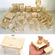 Wooden Dollhouse Furniture Miniature Lot Kit Set Mini Handmade Girl Accessories