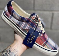 Polo Ralph Lauren Thorton III Multi Color Plaid Mens Size Boat Shoes Sneakers 9