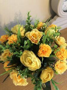 Artificial Flower Grave Pot Arrangement Spring Daffodils
