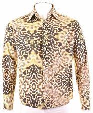 CAVALLI Mens Shirt Large Multicoloured Animal Print Cotton LB11