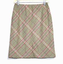 Ann Taylor LOFT - Women's 4P - Moss Green & Pink Plaid Felted Wool A-Line Skirt