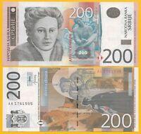 Serbia 200 Dinara p-58b 2013 UNC Banknote