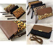 82b3a5227190 Over Sized Envelope Leopard Print Clutch Bag Faux Fur Bag Leather Large  Evening