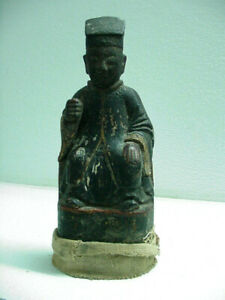 ANTIQUE CHINESE CARVED WOOD STATUE MARKED & SIGNED, TRAP DOOR INSIDE, QING ?