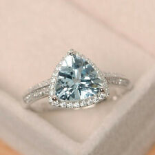 14K White Gold Natural Diamond Blue Trillion Aquamarine Anniversary Ring Jewelry