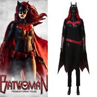Batwoman Cosplay Batgirl Kathy Kane Costume Jumpsuit Cape Outfit Uniform