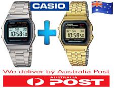 BRAND NEW CASIO A159W GOLDEN + SILVER CLASSIC DIGITAL ALARM WRIST WATCH RETRO