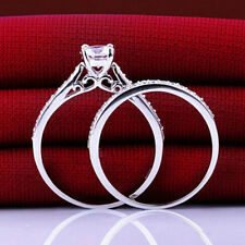 2Pcs Engagement Rings Zirconia Jewelry Silver Plated Women Wedding Band Ring
