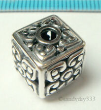 1x BALI OXIDIZED STERLING SILVER SWEET HEART CUBE DICE SPACER BEAD 12mm J096